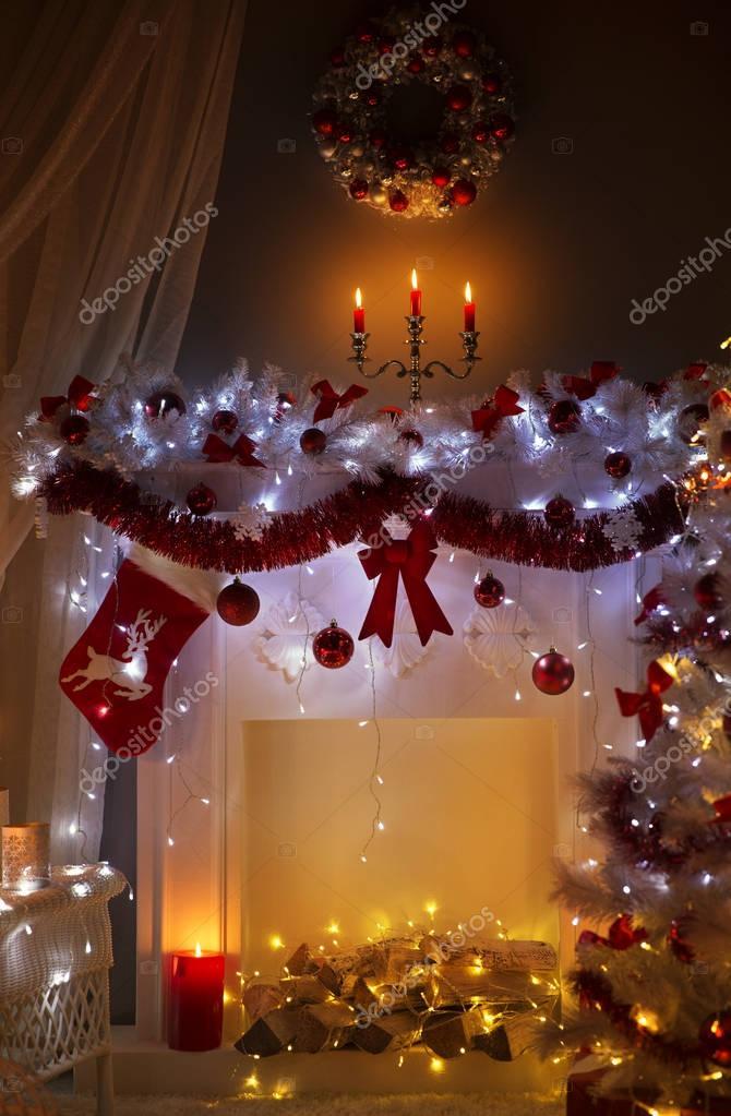 Boże Narodzenie Kominek W Nocy Oświetlenie Wnętrza