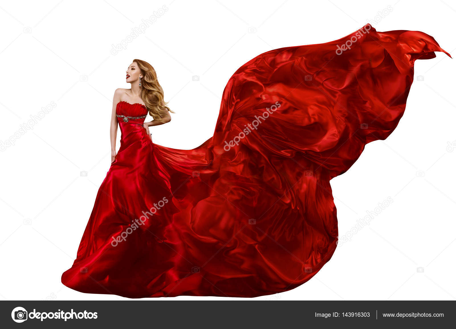 Woman Fashion Red Dress Gown Waving On Wind Flying Silk Fabric Stock Photo