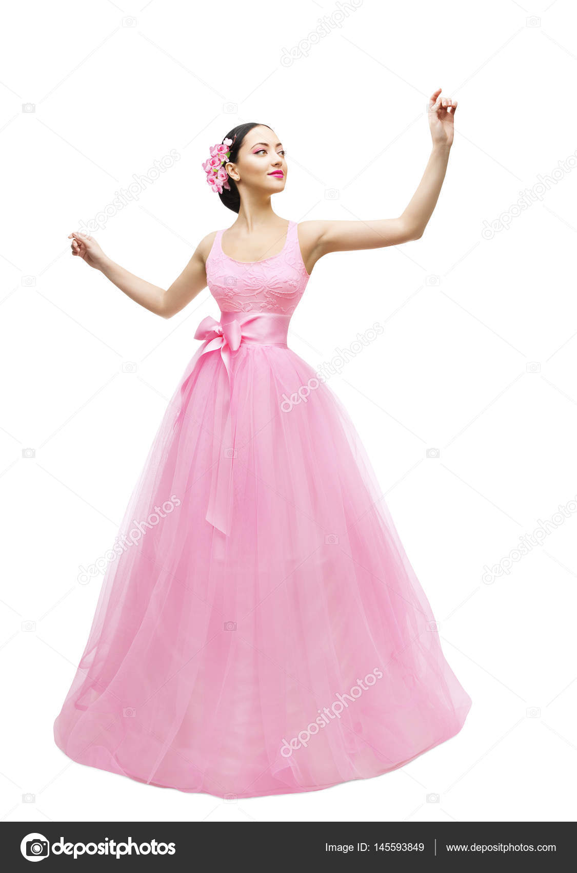 Moda modelo bola vestido, mujer en vestido largo rosa, chica joven ...