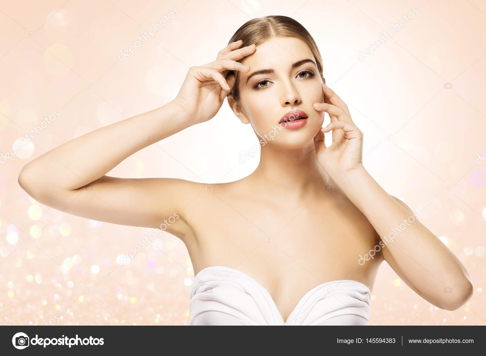 Woman Touching Face, Beauty Model Skin Care, Beautiful Girl