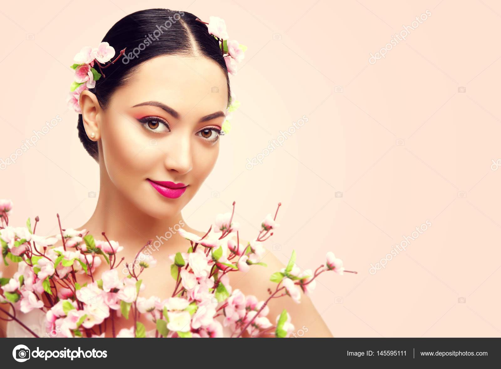 Japanese girl and flowers asian woman beauty makeup beautiful japanese girl and flowers asian woman beauty makeup beautiful fashion model stock photo izmirmasajfo