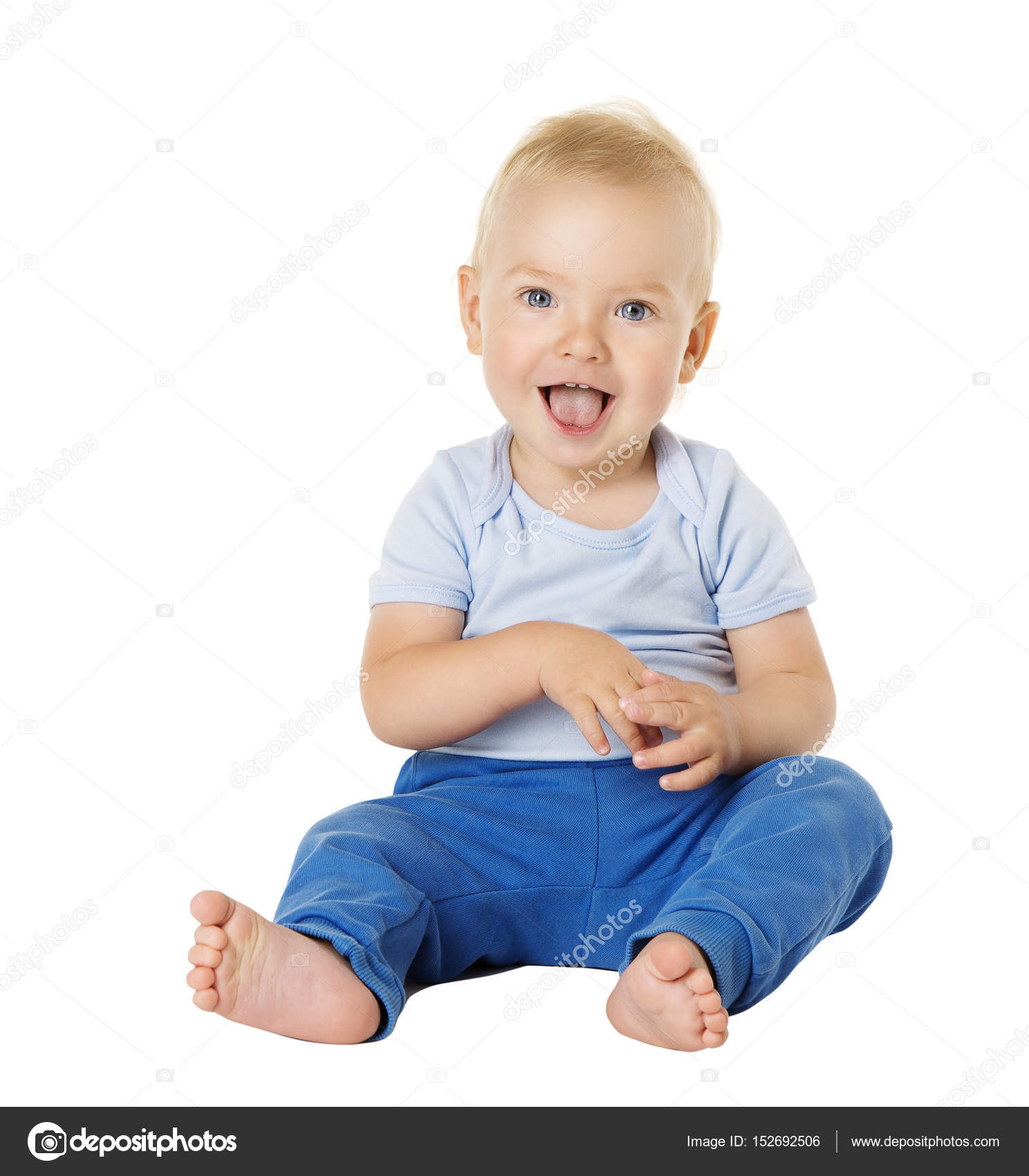 Baby over White Background Happy Kid e Year old Child Boy