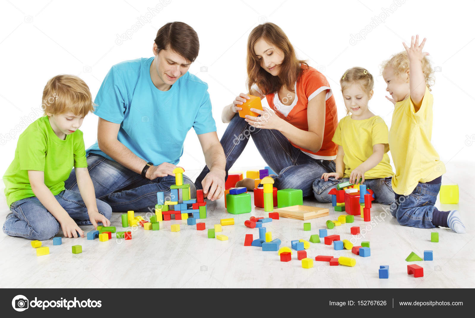 Family And Kids Playing Building Blocks Parents Children Toys