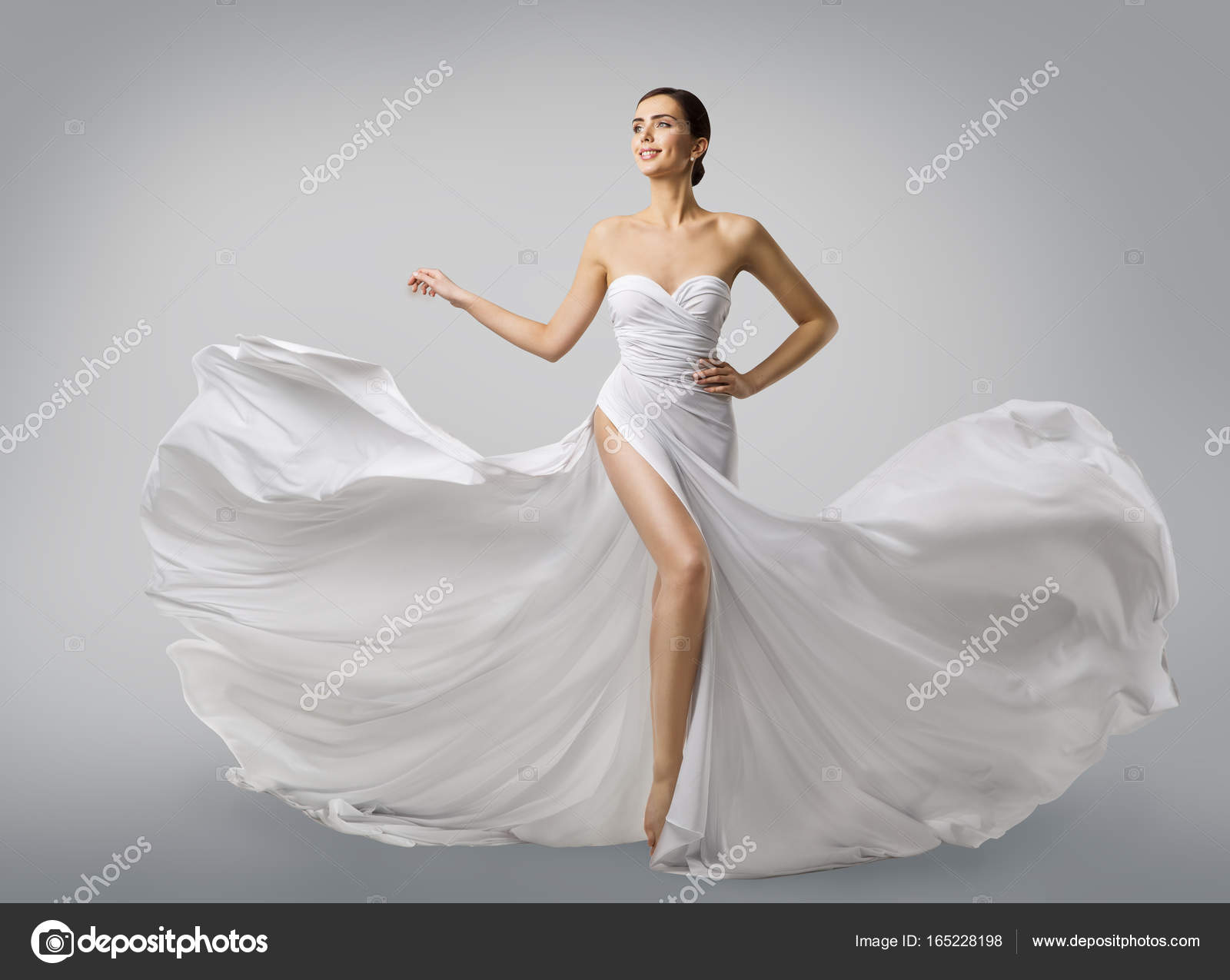 Mujer de blanco vestido de novia modelo de moda en vestido de Novia ...