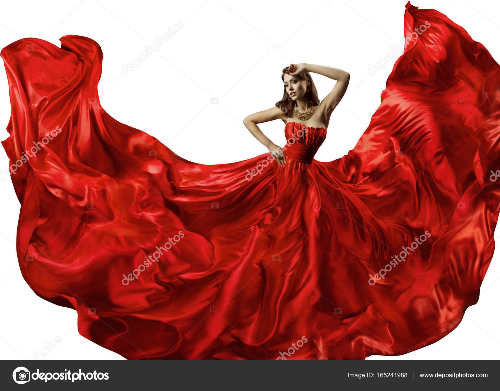 Dancing Woman in Red Dress, Fashion Model Dance in Silk Ball Gown ...