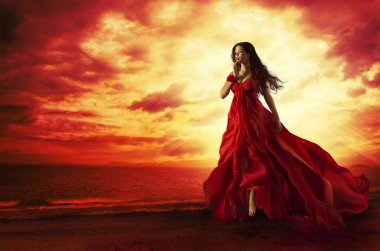 Woman Flying Red Dress, Fashion Model in Evening Gown Levitating Outdoors