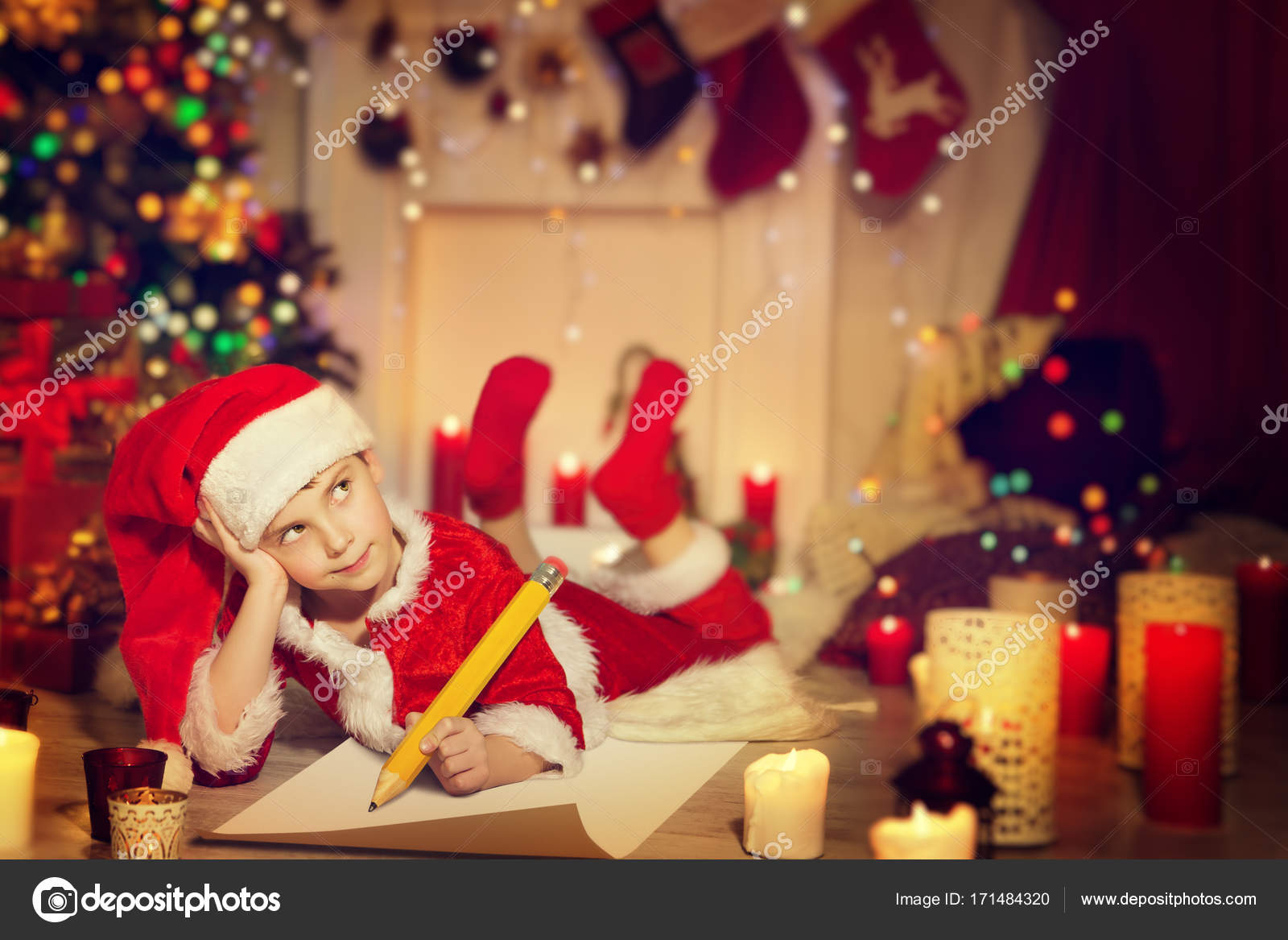 Child Writing Christmas Letter Happy Kid Write Wish List To Santa