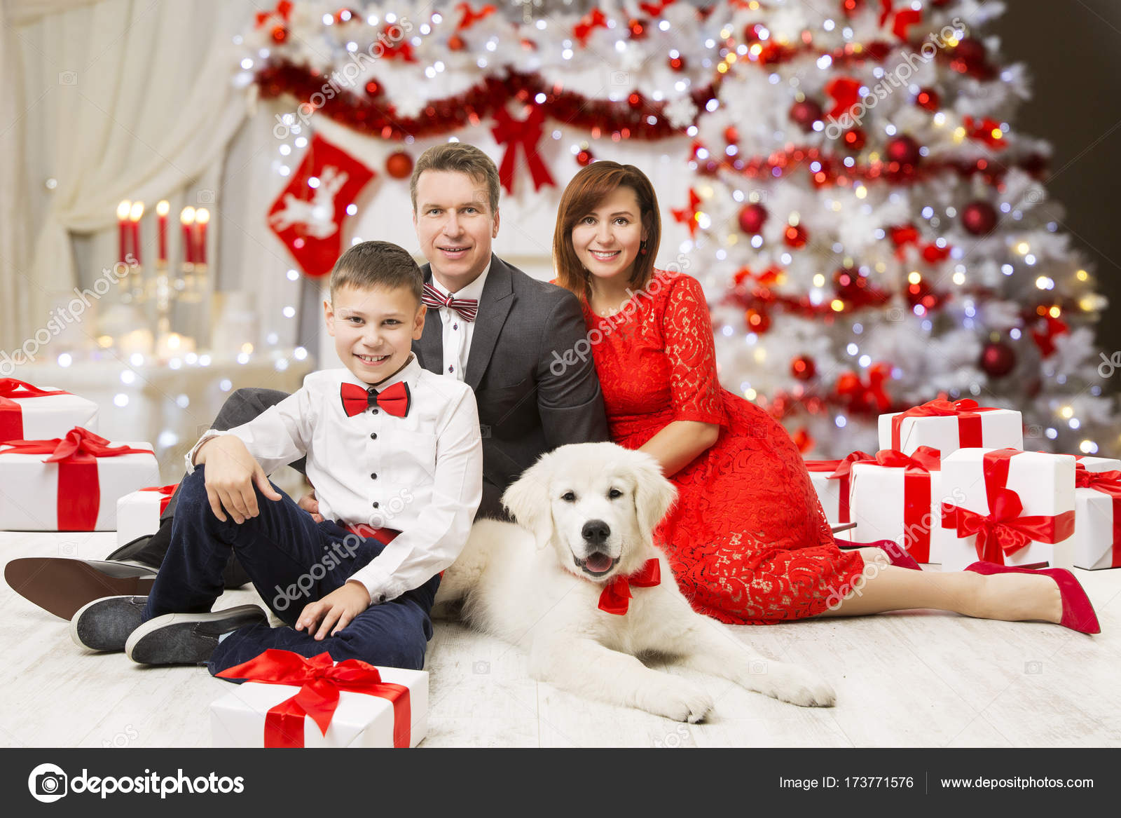 Mother Christmas.Christmas Family Portrait Father Mother Child Boy Dog