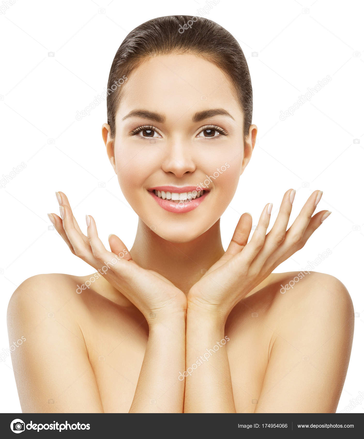 Skin Care Model: Woman Face And Hands Beauty, Skin Care Makeup, Beautiful
