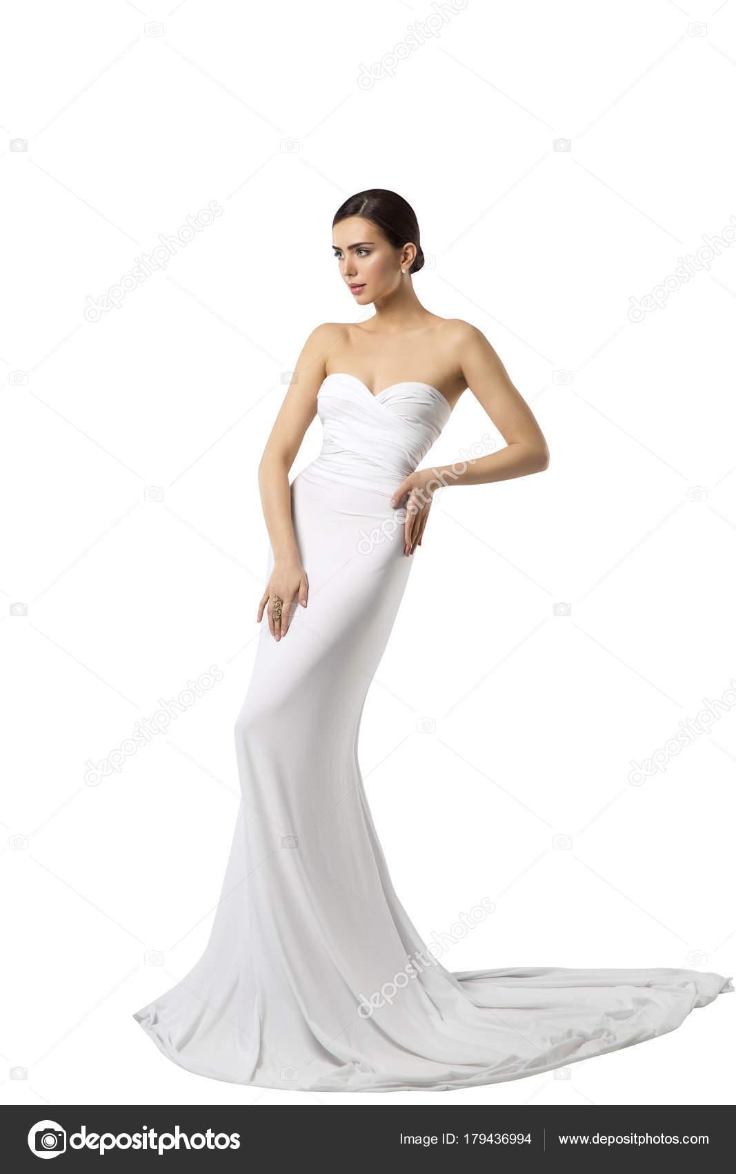Mode Modell Braut Brautkleid, Frau Schönheit Kleid, lange weiße ...