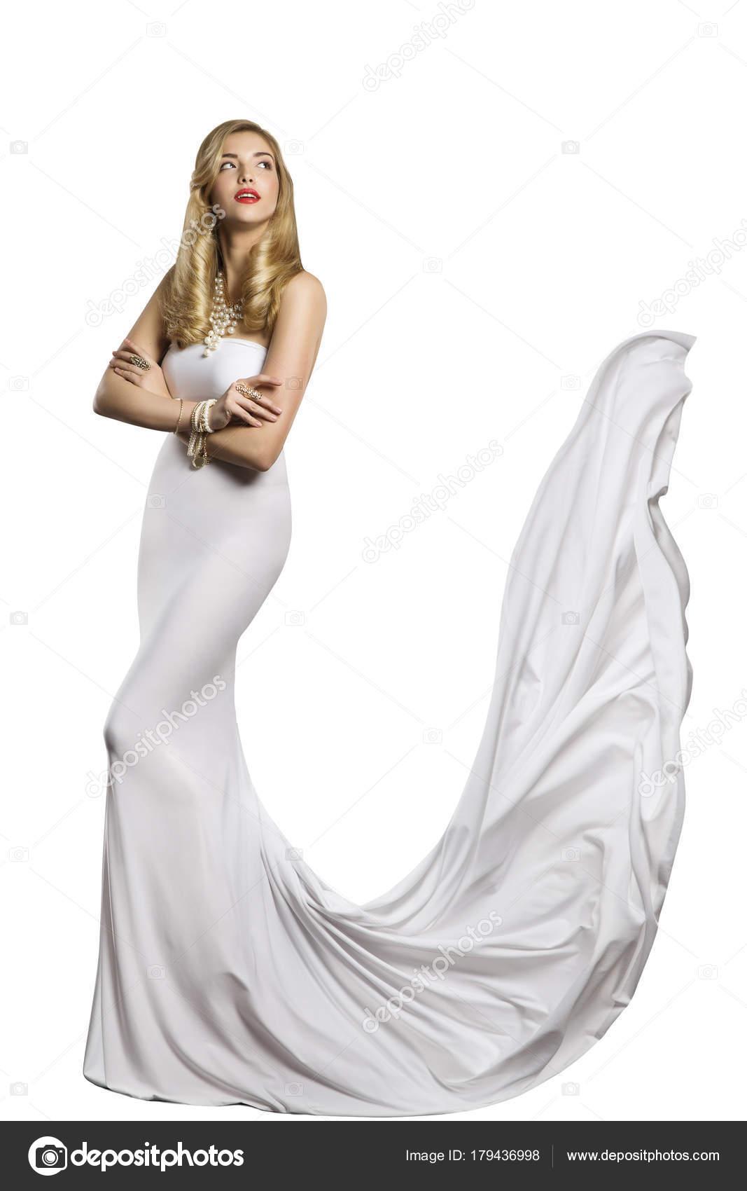 Vestido de Novia de boda de modelo de moda, belleza de mujer blanco ...