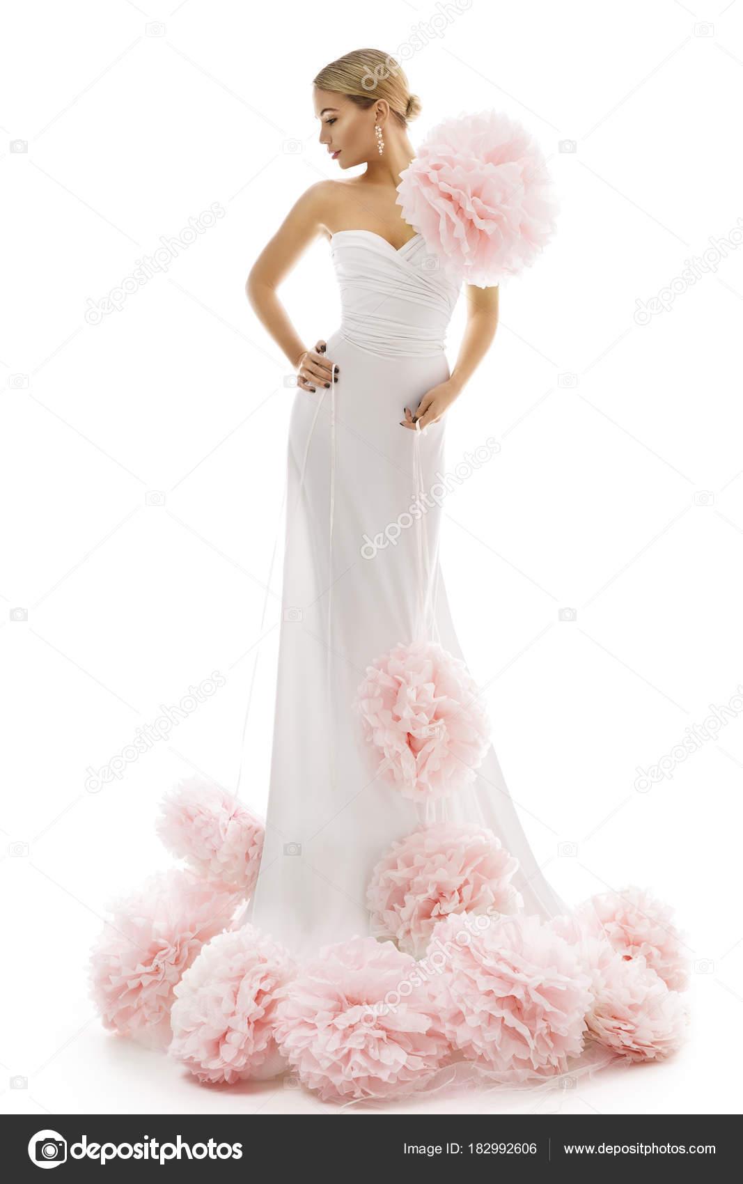 Μόδα μοντέλο μακρύ φόρεμα με Art λουλούδια e9186524587