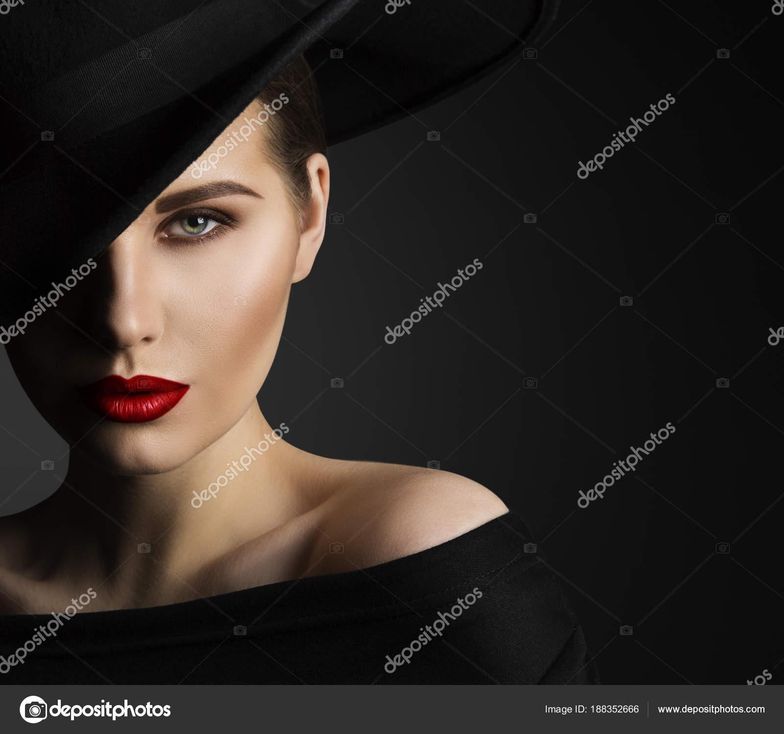 mode mod u00e8le beaut u00e9 portrait   u00e9l u00e9gante femme avec chapeau noir  belle dame l u00e8vres yeux maquillage