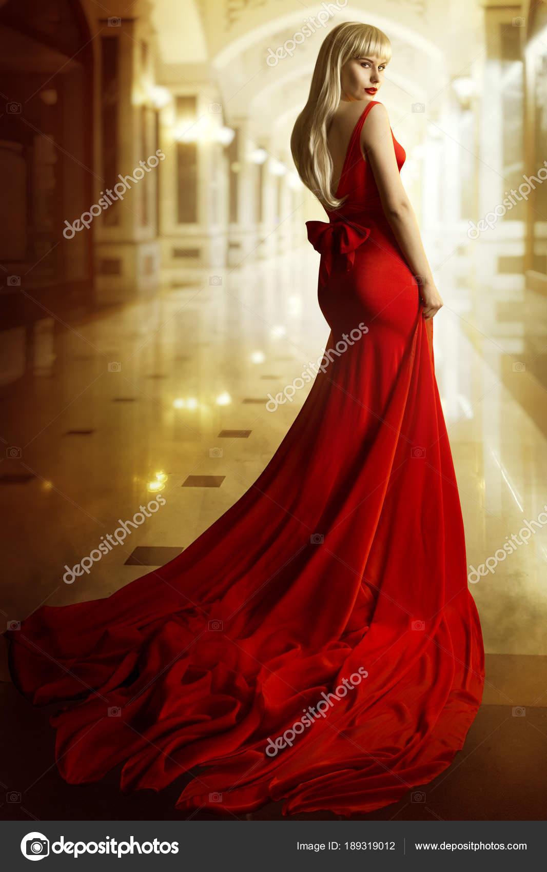 Mode Modell rotes Kleid, Frau Beauty Portrait, elegante Sexy Mädchen ...