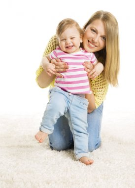 Mother and Kid Girl, Happy Mom with Baby Daughter, Infant Child and Mum