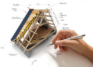Hand sketching house roofing technical