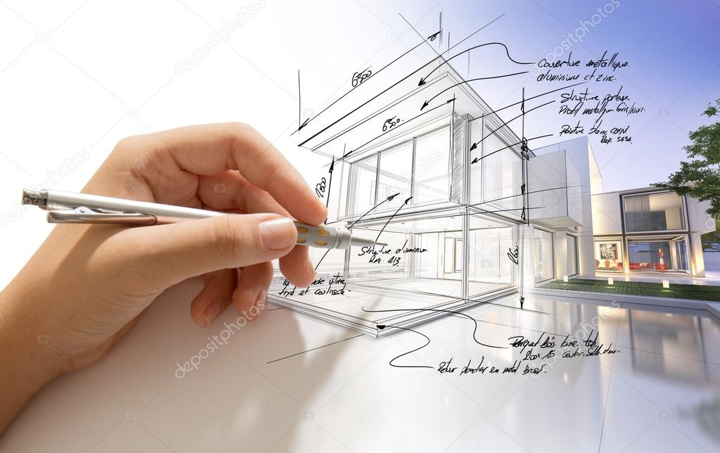 Hand drafting a design villa and the building becoming real stock vector