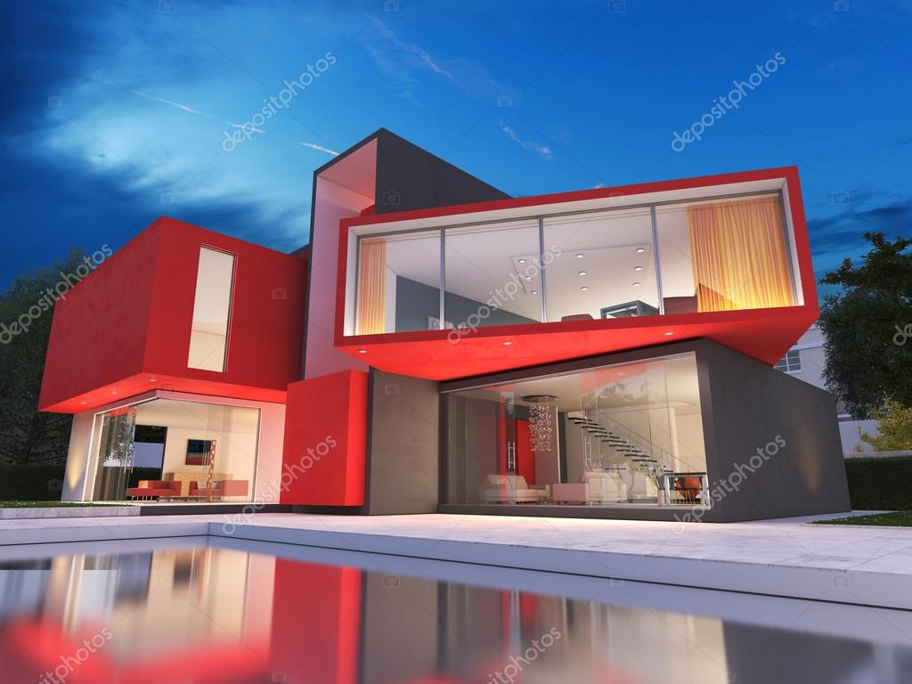 Attractive Modern Red House U2014 Stock Photo