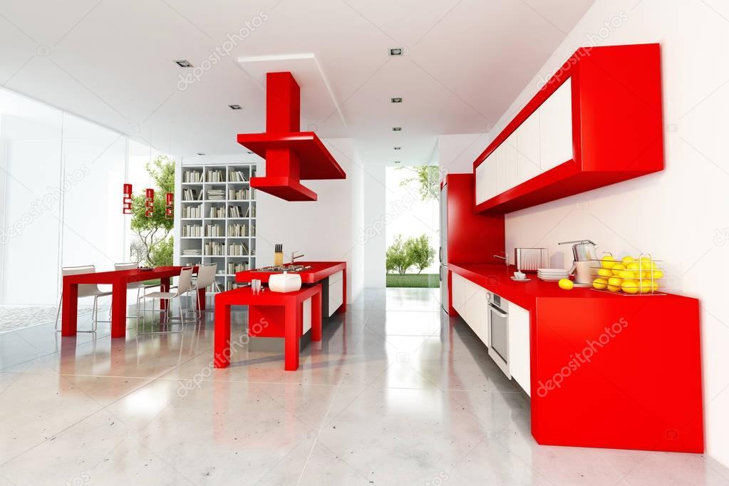 Mooie moderne rood interieur — Stockfoto © franckito #130172248