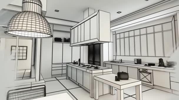3D animace moderní městské kuchyně vyvíjející se z drátového rámu vykreslování do realistického vykreslování barev