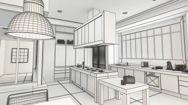 3D rendering animation of a modern urban kitchen  in black and white wireframe