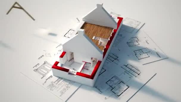 3D animace zobrazující různé fáze výstavby od plánů po střešní instalaci