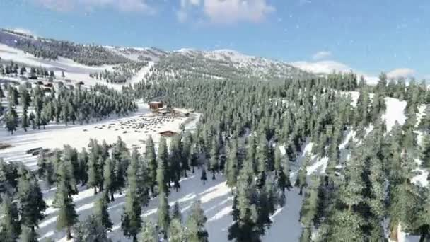 Aerial shot of ski resort in the mountains. 3D