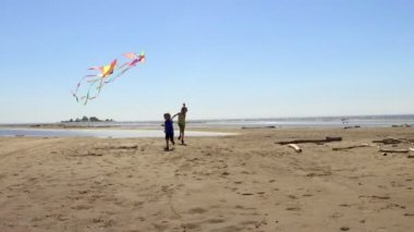 Two happy little boys brothers running with kites on the beach.