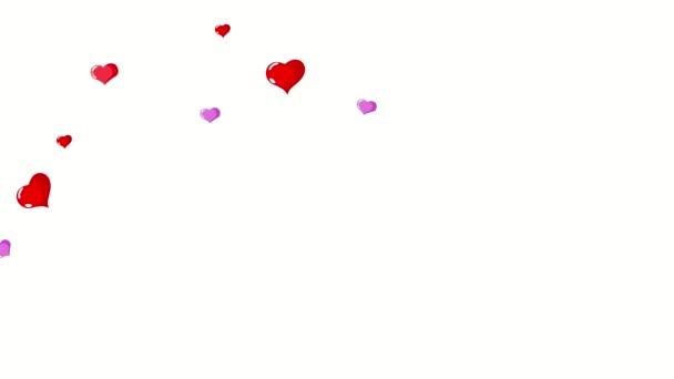Srdce létání. Den svatého Valentýna pozadí abstraktní s srdce animace