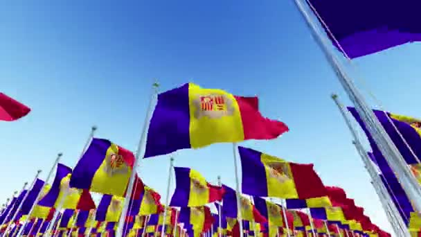 Waving Flags of Andorra waving against blue sky. Three dimensional rendering 3D animation.