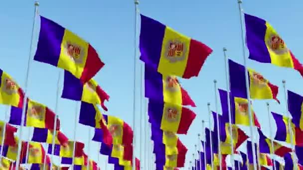 Sok zászlói Andorra integetett ellen, blue sky. Három dimenziós leképezés a 3D-s animáció.