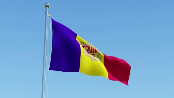 Andorra zászlaja ellen, blue sky integetett. Három dimenziós leképezés a 3D-s animáció.