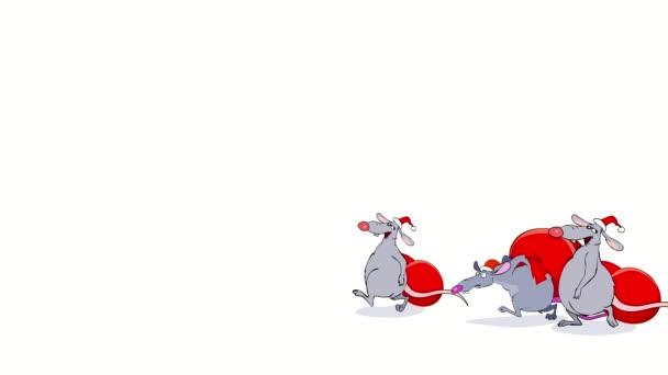 Legrační karikatura vánoční myši jít s dárkové tašky na bílém pozadí