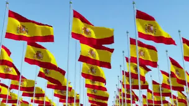Sok Spanyolország zászlók sorokban integetett ellen, tiszta kék ég, süt a nap. Három dimenziós leképezés a 3D-s animáció.