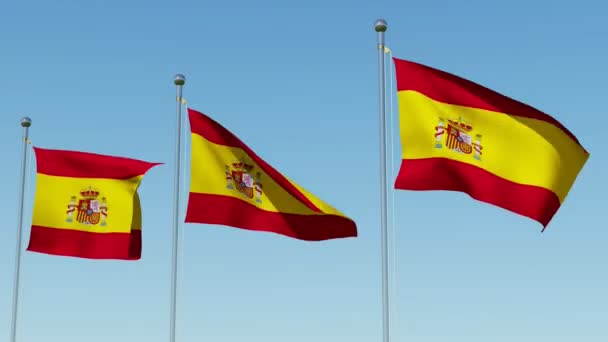 Three flags of Spain waving against blue sky. Three dimensional rendering 3D animation.