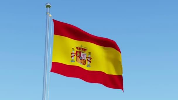 Flag of Spain waving against blue sky. Beautiful three dimensional rendering 3D animation.