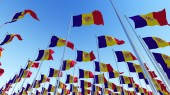 Waving Flags of Andorra against blue sky. Three dimensional rendering 3D illustration.