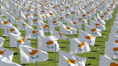 Many flags of Cyprus waving in green field. Three dimensional rendering 3D illustration.