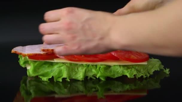 woman making big sandwich with tomato, cheese, ham and lettuce on black background