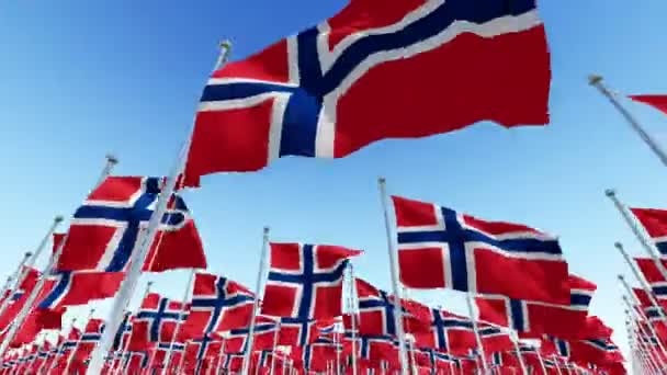 Flags of Norway waving in the wind against blue sky. Three dimensional rendering animation 3D.