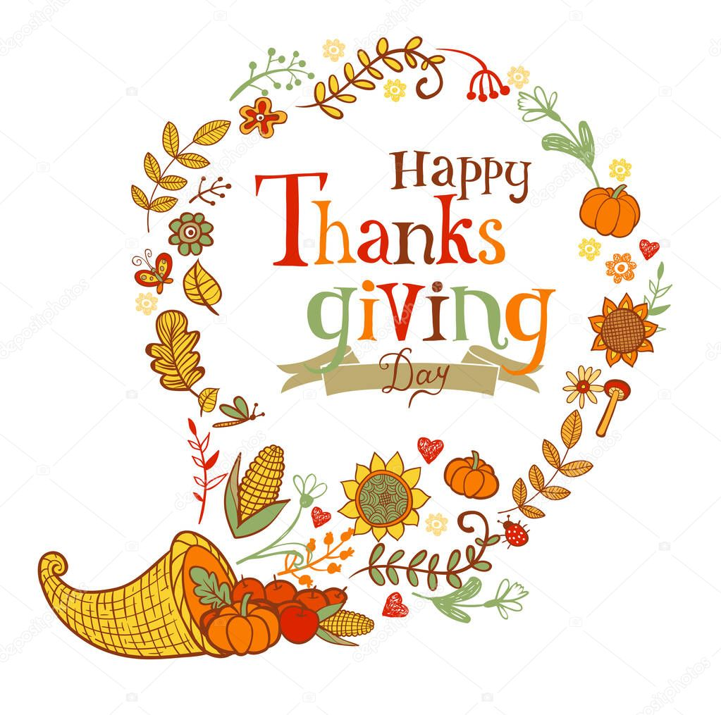 Thanksgiving Greeting Card Stock Vector Azzzya 129119660