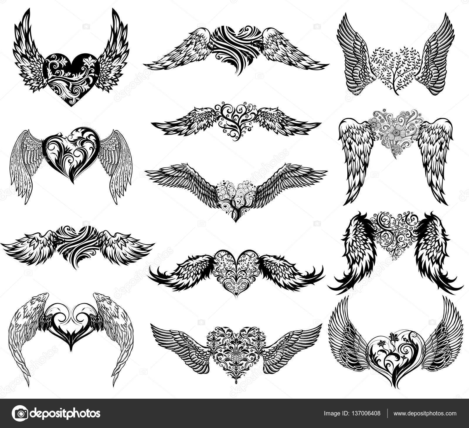 Conjunto De Tatuaje De Corazones Con Alas Archivo Imágenes