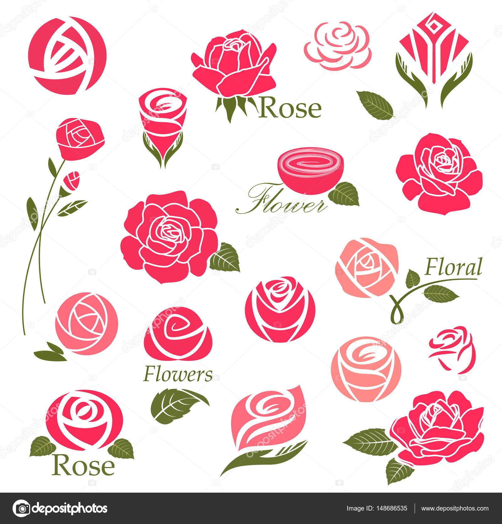 Elementos De Diseno De Rosas Archivo Imagenes Vectoriales C Azzzya - Diseos-de-rosas