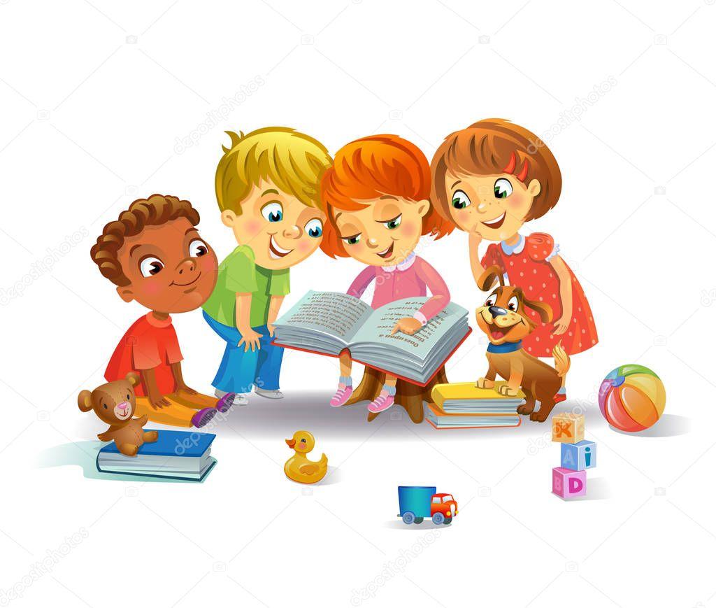 Cute children reading books — Stock Vector © azzzya #163348682
