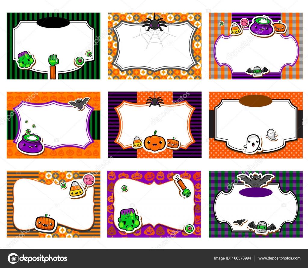 Conjunto De Giro Convites De Halloween Vetores De Stock Azzzya