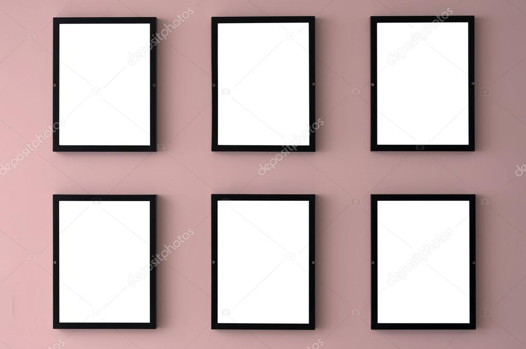 Sechs leere Bilderrahmen — Stockfoto © Tonygers #125188858