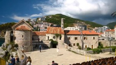 People in Budva Old Town time lapse