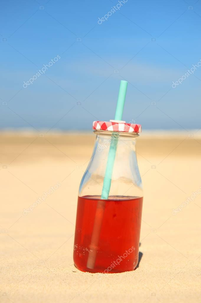 Bottle lemonade at beach