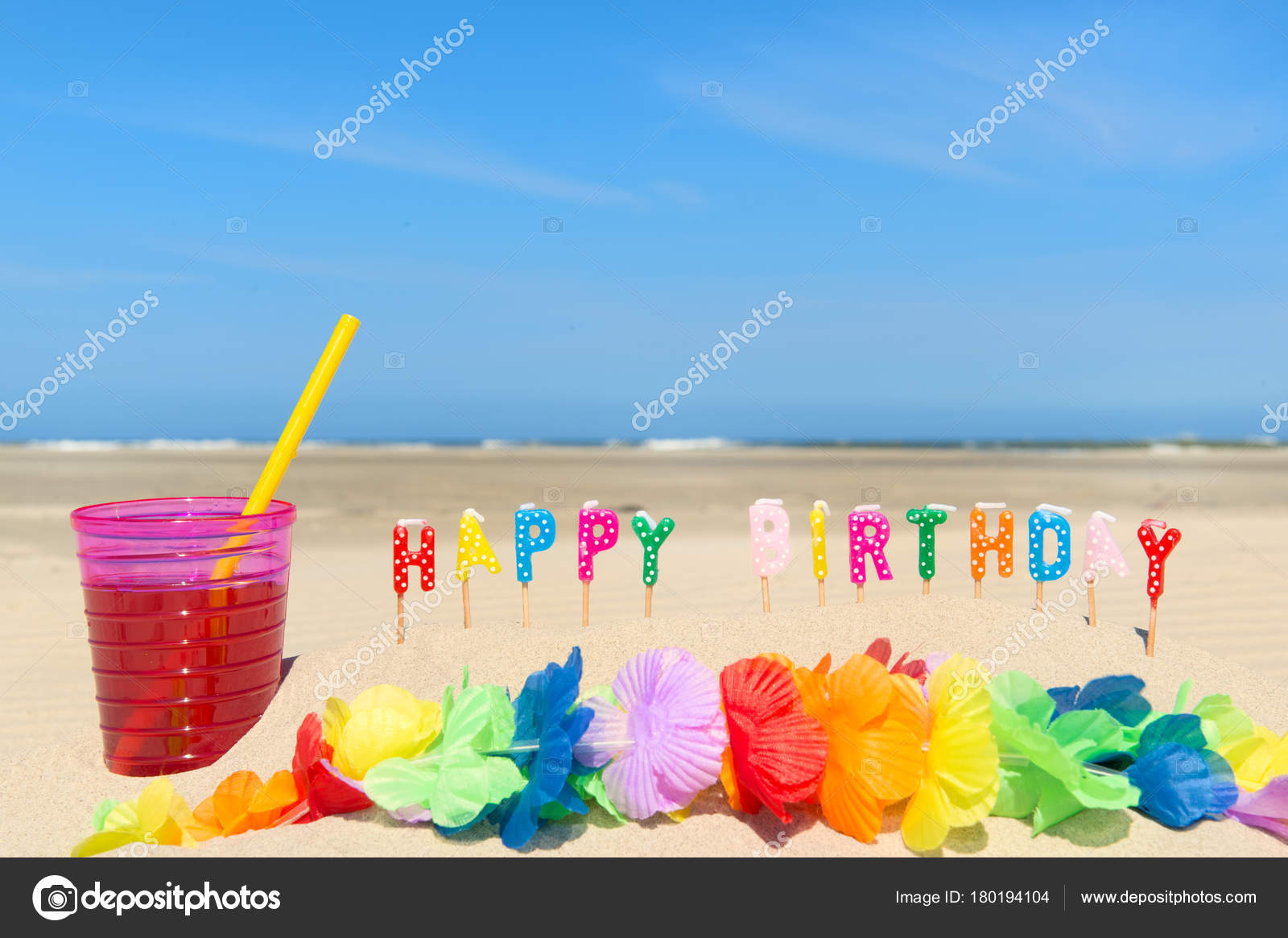Happy Birthday At The Beach Stock Photo