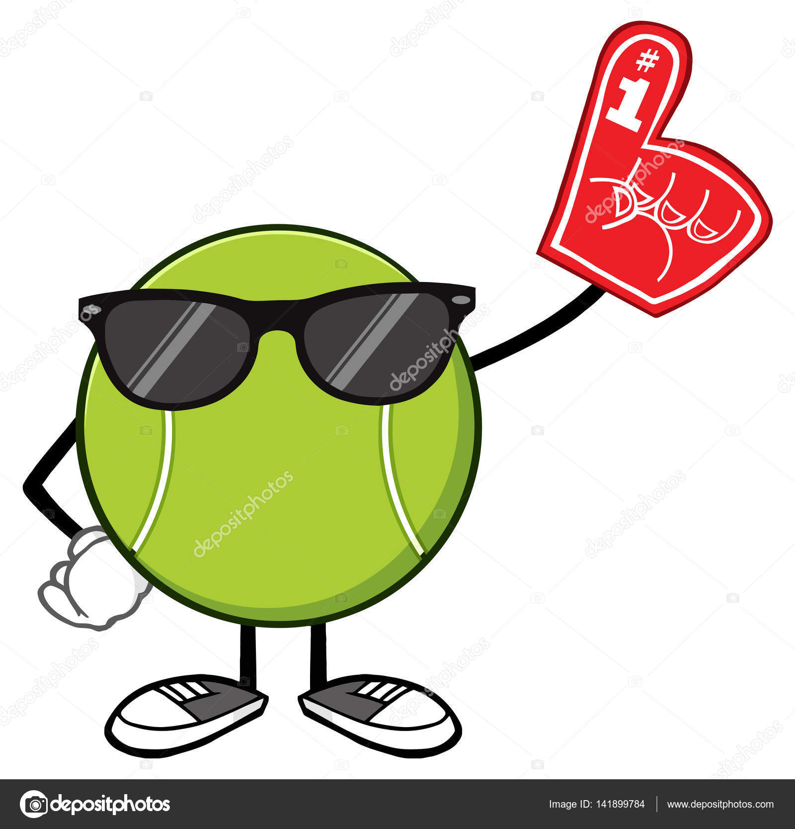 Tenis pelota stock de ilustracion ilustracion libre de stock de - Tenis Pelota Sin Rostro De La Historieta Mascota Personaje Con Gafas De Sol Con El Dedo De La Espuma Ilustraci N De Trama Aislada Sobre Fondo Blanco